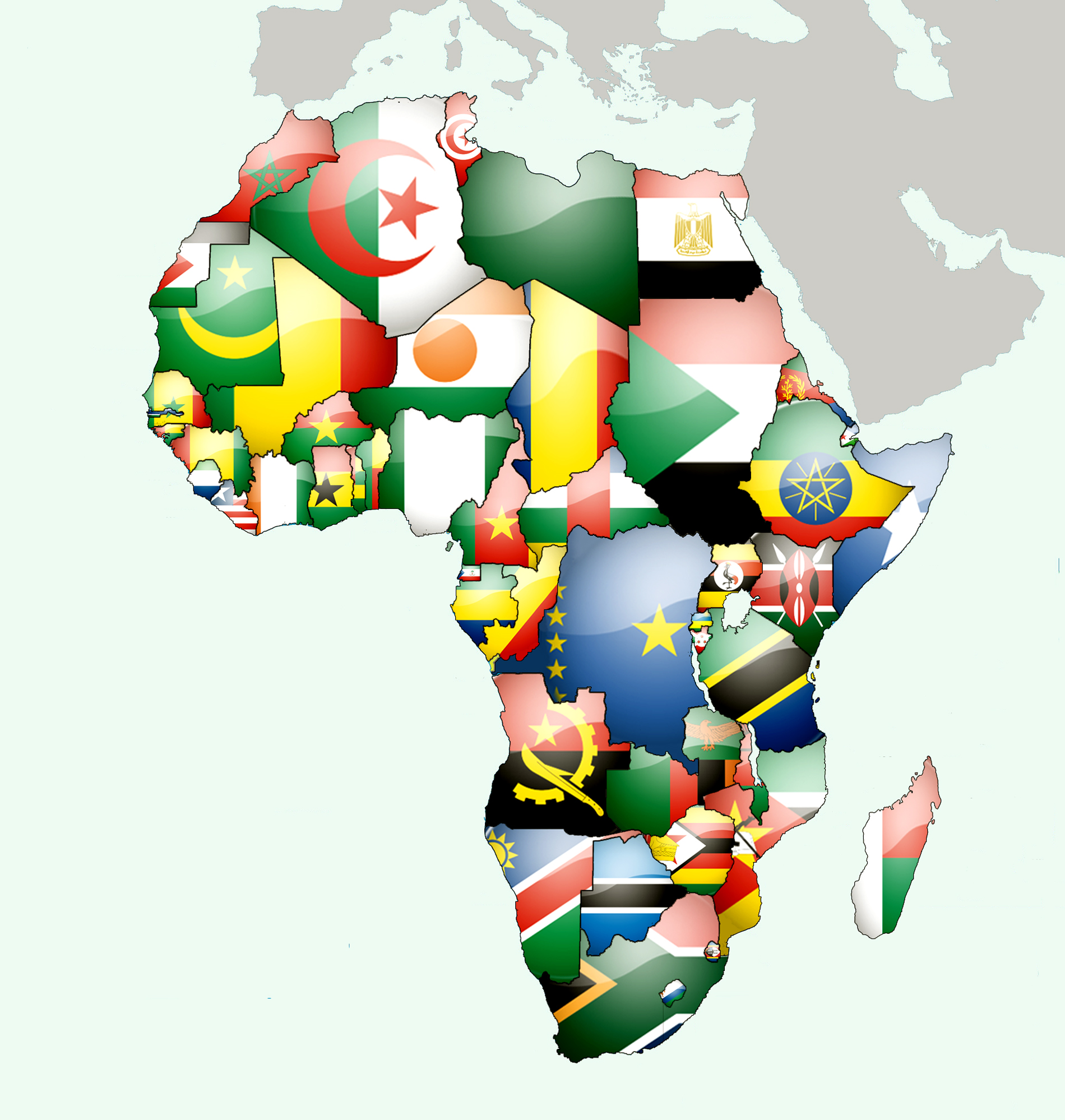African-countries-flags-over-map
